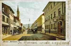 Murnau mit Gasthof Post AK gel um 1900